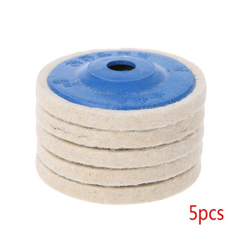 5Pcs 4'' Round Polishing Wheel Felt Wool Buffing Polishers Pad Buffer Disc Tools