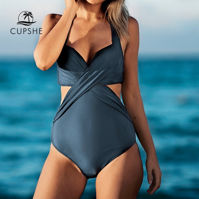 ba01037cfb72a Cupshe Artistic Temperament Halter One-piece Swimsuit V neck Crisscross  Monokini 2019 Ladies Bathing Suit Swimwear