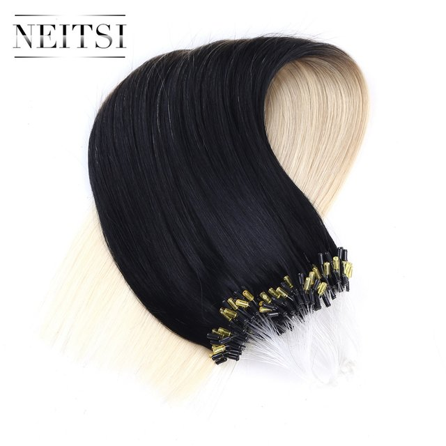 Online Shop Neitsi Machine Made Remy Micro Loop Ring Hair Extensions