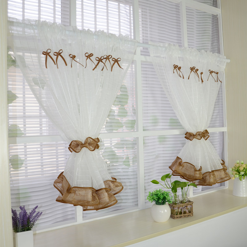 White Roman Kitchen Tulle Curtain 1