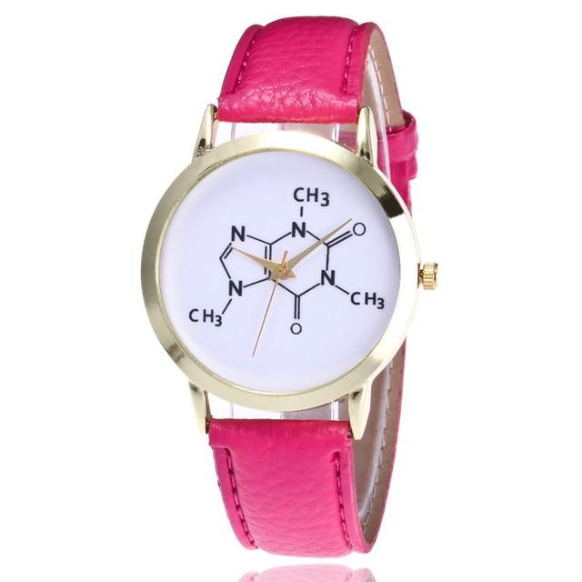 Fashion Women Chemical Molecules Pattern Watch Students Leather Quartz Wristlwat