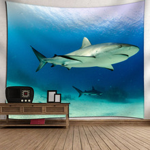 3D Print Tapestry Cartoon Style Sea Animal Undersea Landscape Wall Decoration Blanket Ship Turtle Jellyfish Pattern Bed Sheet
