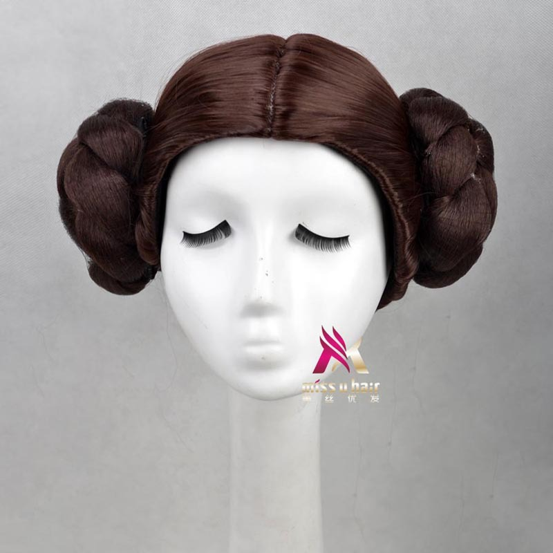 Leia Organa Solo Princess Brown Short Synthetic Hair Cosplay Full Wigs With buns Heat Resistance Fiber+wig cap