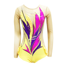 Blue Artistic Gymnastics Competition Gymnastics Leotard Kids Performances Leotards Custom Style and Size