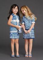 Milan Creations Baby Girls Dresses Winter 2015 Luxury Brand Children Dress Princess Costume Blue Majolica Kids