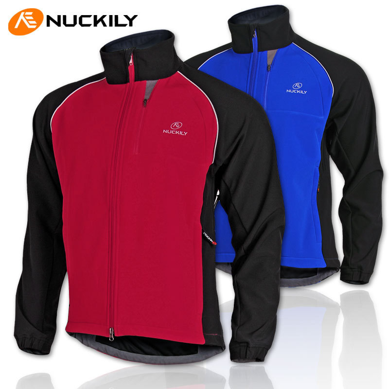 NUCKILY Outdoor Sports Men Cycling Jacket Winter Thermal Fleece Long Sleeve Bike Jerseys Windproof Coat  wosawe outdoor sports windproof winter long sleeve cycling jacket unisex fleece thermal mtb riding bike jersey men s coat