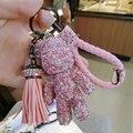 Bomgom Tassels Cartoon Popobe Gloomy Bear Keychain Cute Full Rhinestone Bag Charm Holder Key Chain Key Ring Pendant Kids Toys