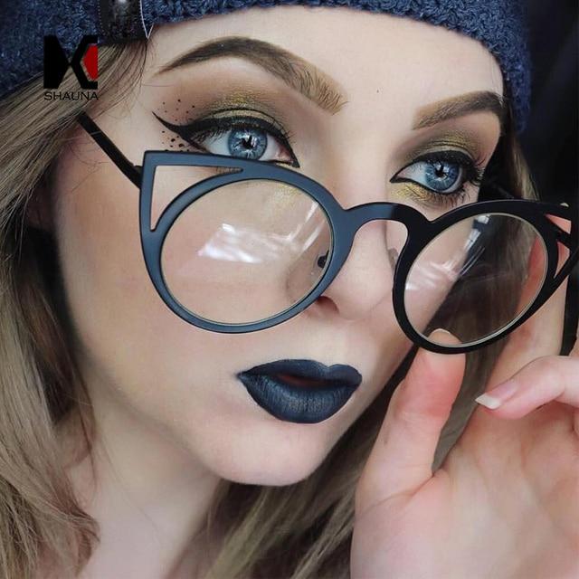 6178f3d12 SHAUNA Moda olho de Gato Mulheres Óculos De Sol Da Marca Designer Popular  Batida Rua Revestimento