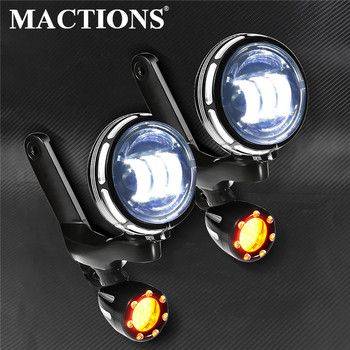 Motorcycle Gloss Black Burst LED Auxiliary Light Amber For Harley Touring Electra Street Glide Road King FLHR FLHX 1996-12 2013 цена 2017