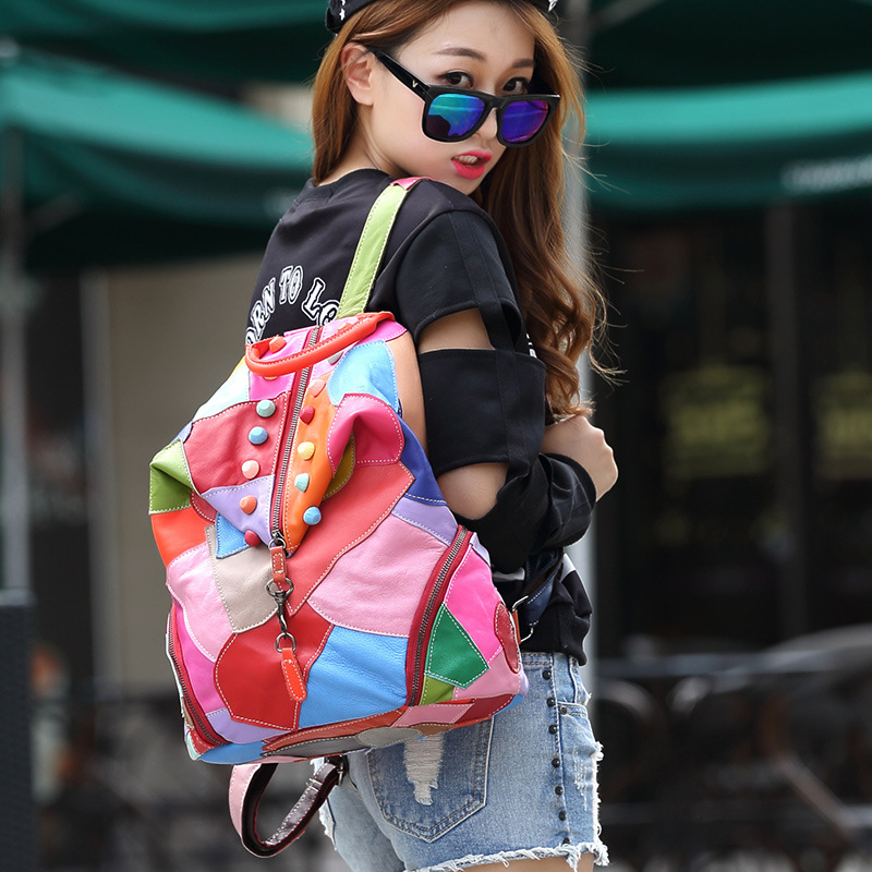 2018 mode sacs à dos en peau de mouton pour les femmes en cuir véritable Double sac à bandoulière couture couleurs sac à dos européen et américain - 6