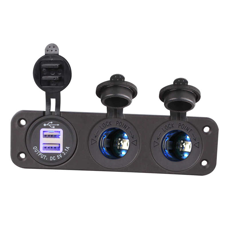 1 Piece 12V Car Cigarette Lighter Socket With Led 12V Dual Socket USB Adapter Charger With Car Cigarette Light