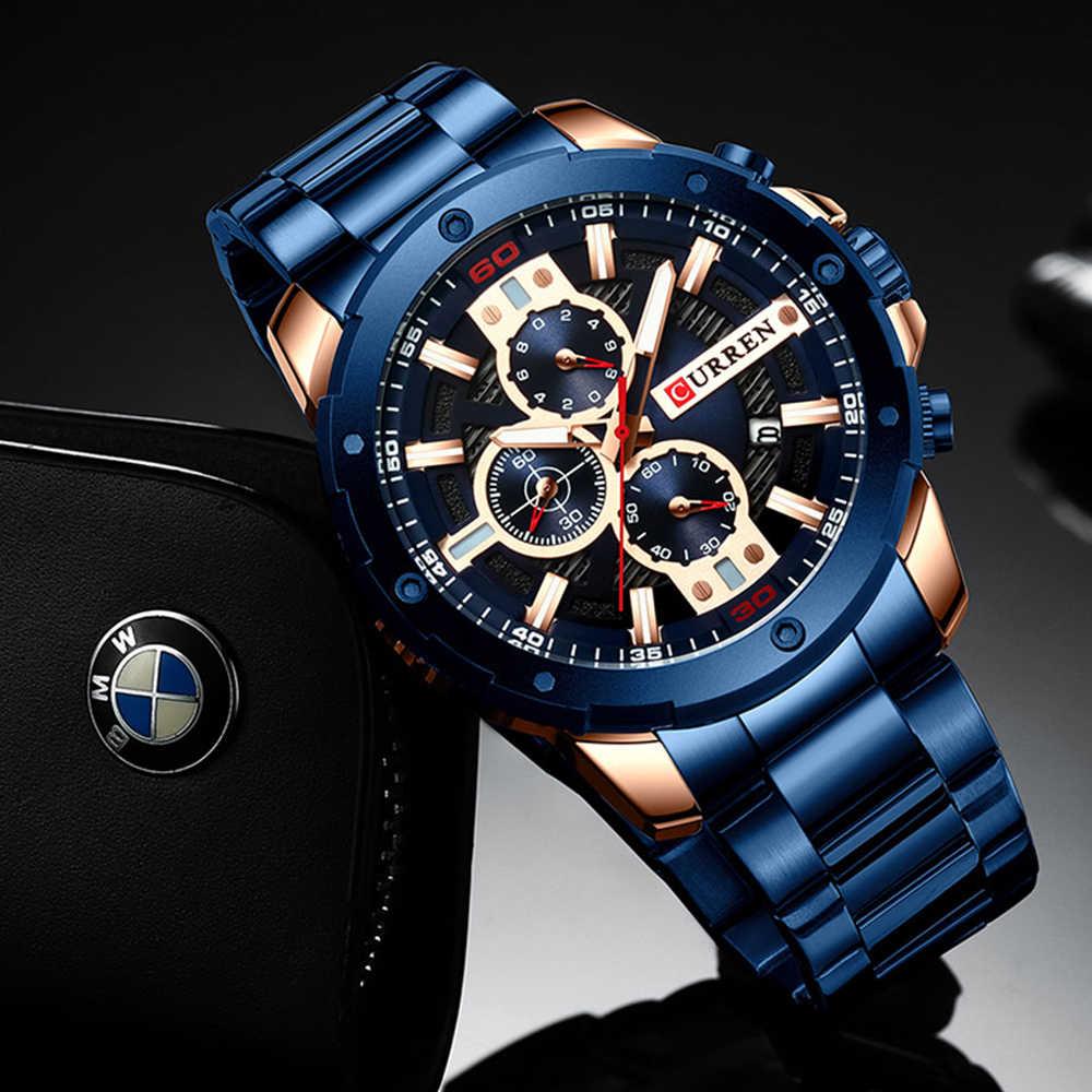 CURREN שעונים גברים נירוסטה בנד קוורץ שעוני יד צבאי הכרונוגרף שעון זכר אופנה ספורטיבי שעון עמיד למים 8336