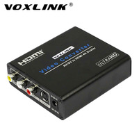 VOXLINK AV/SV to HDMI Converter Composite video / S video and stereo audio to HDMI 4Kx2K 60HZ upscaler Converter Box