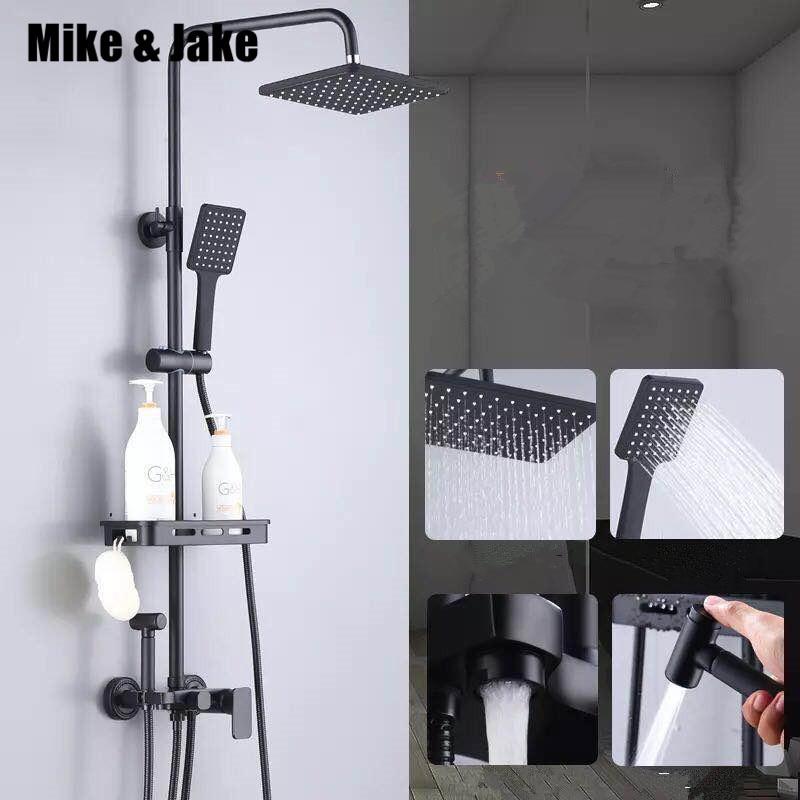 Preto puro conjunto de duche com chuveiro bidé bidé chuveiro do banheiro branco definir branco bidé chuveiro conjunto torneira da Banheira branca MJ9888W