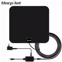 Morpilot HDTV Anten Kapalı Çoğaltılmış Dijital TV Anten 60 Mile Aralığı ile Ayrılabilir Amplifikatör Sinyal Booster ABD/AB Plug