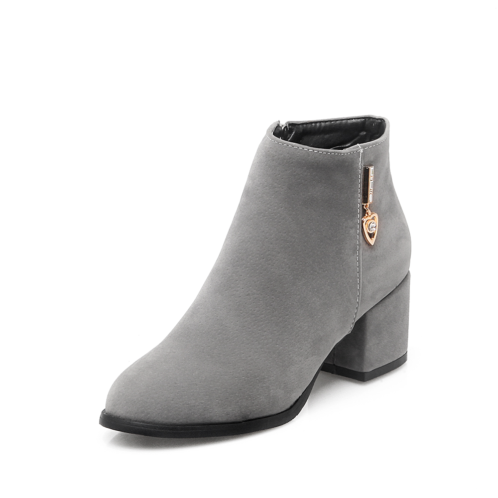 Elegant Women Ankle Boots Fashion Round Toe Square Heels Winter Boots High-quality Black Grey Red Shoes Woman US Size 3.5-13 enmayer shoes woman high heels round toe boots shoe plus size 35 46 ankle boots for women platform shoes rivets charms black