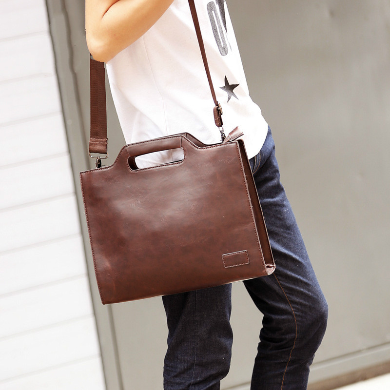 PU Leather Messenger Shoulder Bag Men's Briefcase Business Briefcase File Package Thin File Portfolio Ferramenta Men's Bag Work