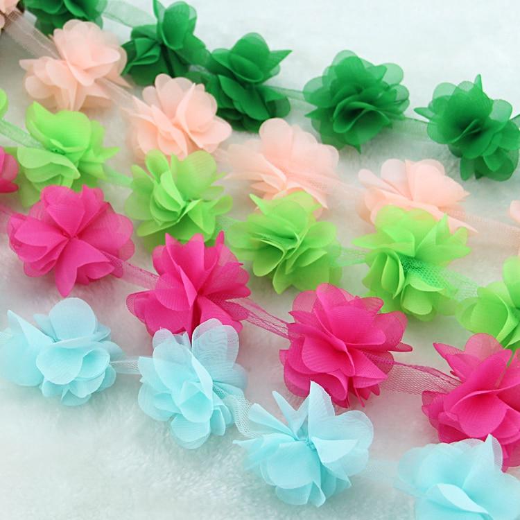 10 õue / partii mitmevärviline 3D 6 lehed šifoon lille pitskangast - Kunst, käsitöö ja õmblemine