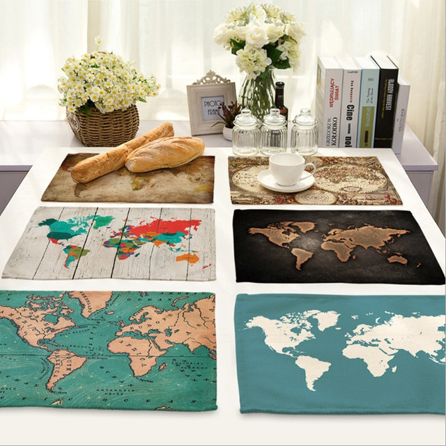 Home Decor World Map Placemat Cotton Fabric Table Mat Dishware Coaster For  Kitchen Accessories Wedding Party