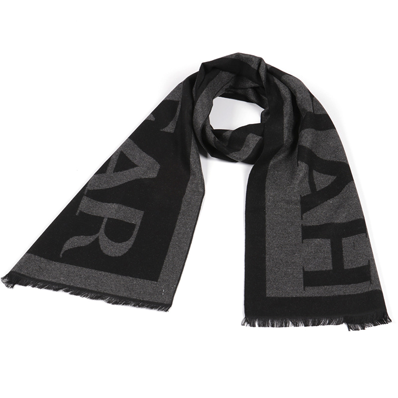 Letter Scarf Autumn Winter New And Soft Men Brushed Anti-Static Moisture-Absorbing Men's