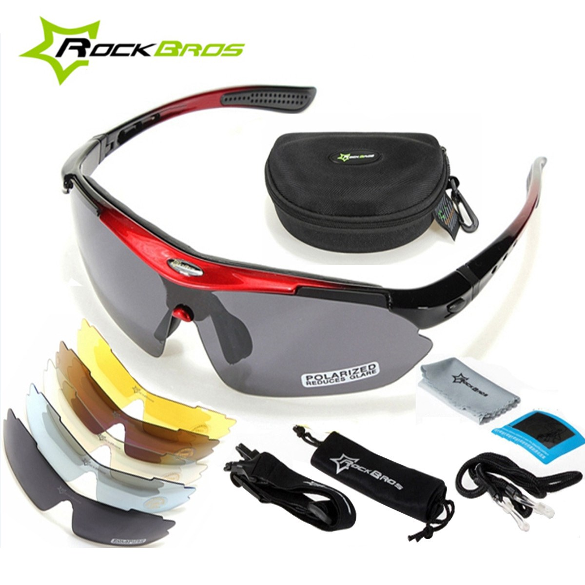 ROCKBROS Polarized Cycling Bike Bicycle Sunglasses Outdoor Sports Glasses Goggles Eyewear 5 Lens 4 Colors oversize unisex fashion sunglasses polarized retro hipster steampunk goggles mirror coating sunglass polar superstar eyewear