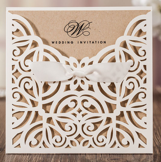 50pcs Wishmade White/Navy Blue Vintage Flower Laser Hollow Wedding  Invitation Card With One Page