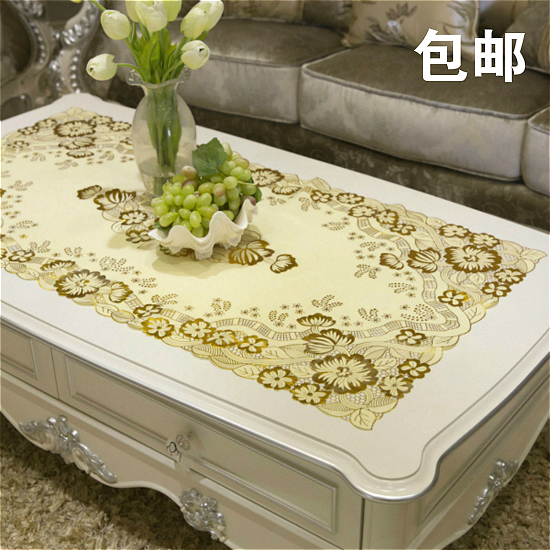 Table PVC Mats Living Room Cloth Waterproof Disposable Tablecloth European Bronzing Hollow Rectangle