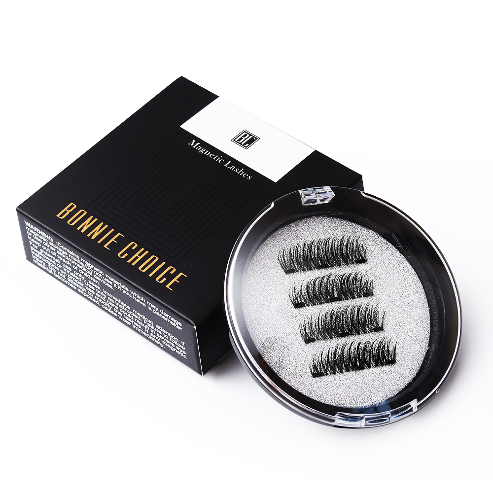 BONNIE CHOICE 3D Magnetic Eyelashes with 3 Magnet False Handmade Eye Lashes 4Pcs Makeup Kit