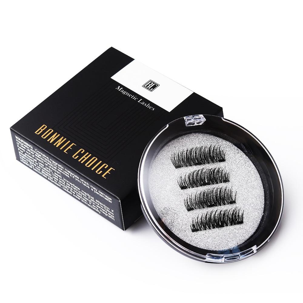 BONNIE CHOICE 3D Magnetic Eyelashes With 3 Magnet False Eyelashes Handmade Eye Lashes 4Pcs Eye Makeup Kit