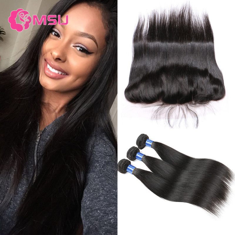 Full Frontal Lace Closure 13x4 with Bundles Magic Hair Company 3 Bundles Straight Peruvian Virgin Hair