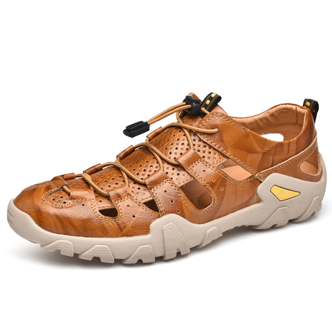 VESONAL Summer Genuine Leather Hollow Non-slip Outdoor Hiking Shoes Men Casual Sandals Breathable Fashion Comfortable Sandals Lahore