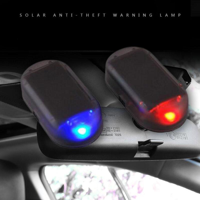 Car Solar Simulation Anti-theft LED Light Security System Warning Theft Flash Blinking Fake