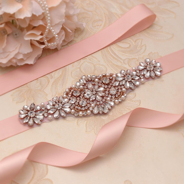 MissRDress Wedding Belt Rhinestones Rose Gold Bridal Dress Sash Pearl Bridal Belt Wedding Decoration Bridal Belt Crystal JK929