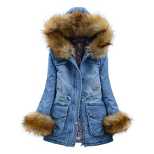 2016 Winter Jacket Women Cotton-Padded Jacket Women Fur Collar Ladies Winter Coat Thickening Outerwear Medium-Long Denim Parkas