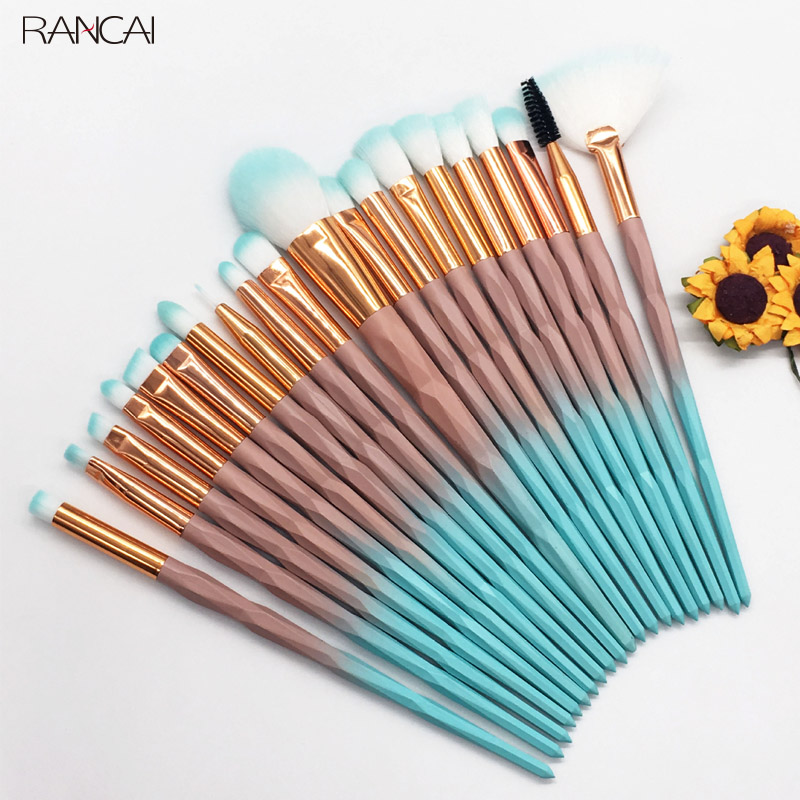 RANCAI 20pcs Diomand Makeup Brushes Set Powder Eye Shadow Foundation Blend Blush Lip Cosmetic Beauty Soft Make Up Brush Tools makeup cosmetic soft foundation powder brush beauty marble make up tools brushes set 10pcs