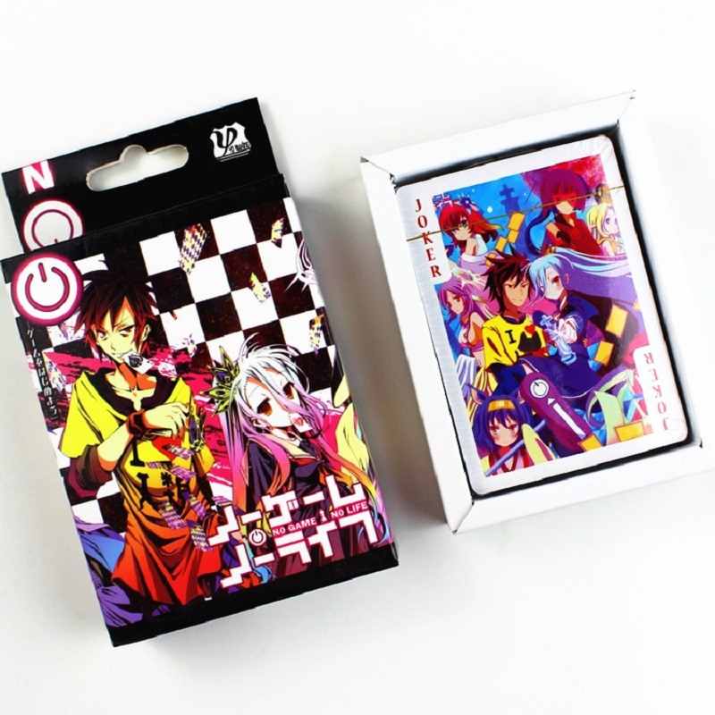 54 Sheets/Set Anime NO GAME NO LIFE Poker Cards Cosplay Board Game Cards Postcard Fans Gift