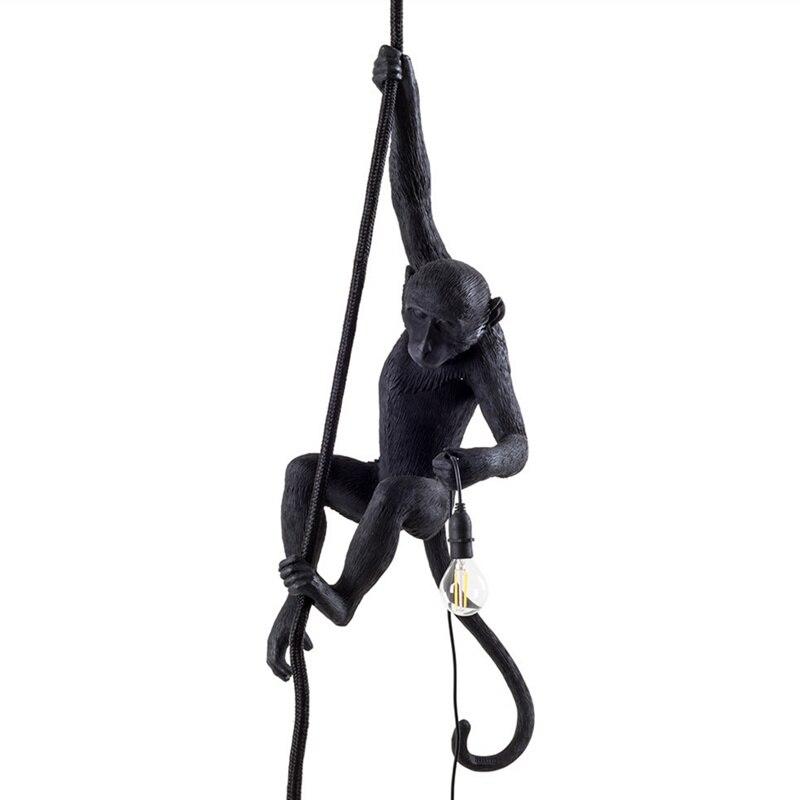 Wongshi Modern Black Scimmia Corda di Canapa Luce Del Pendente di Modo Semplice Arte Nordic Repliche Resina Seletti Scimmia Appesa Lampada