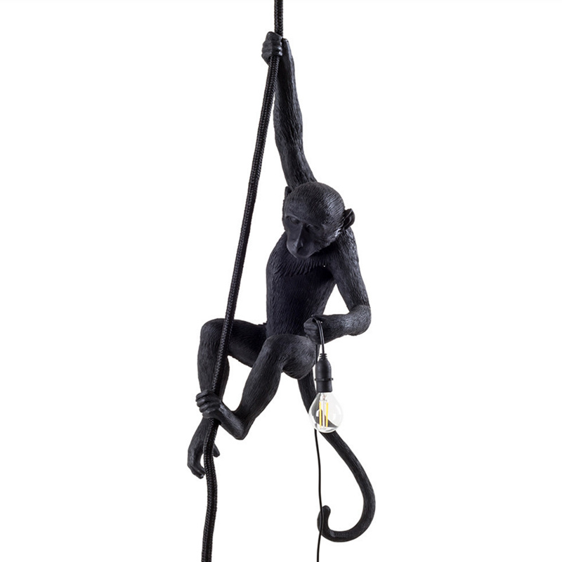 Wongshi Modern Black Monkey Hemp Rope Pendant Light Fashion Simple Art Nordic Replicas Resin Seletti Hanging Monkey Lamp