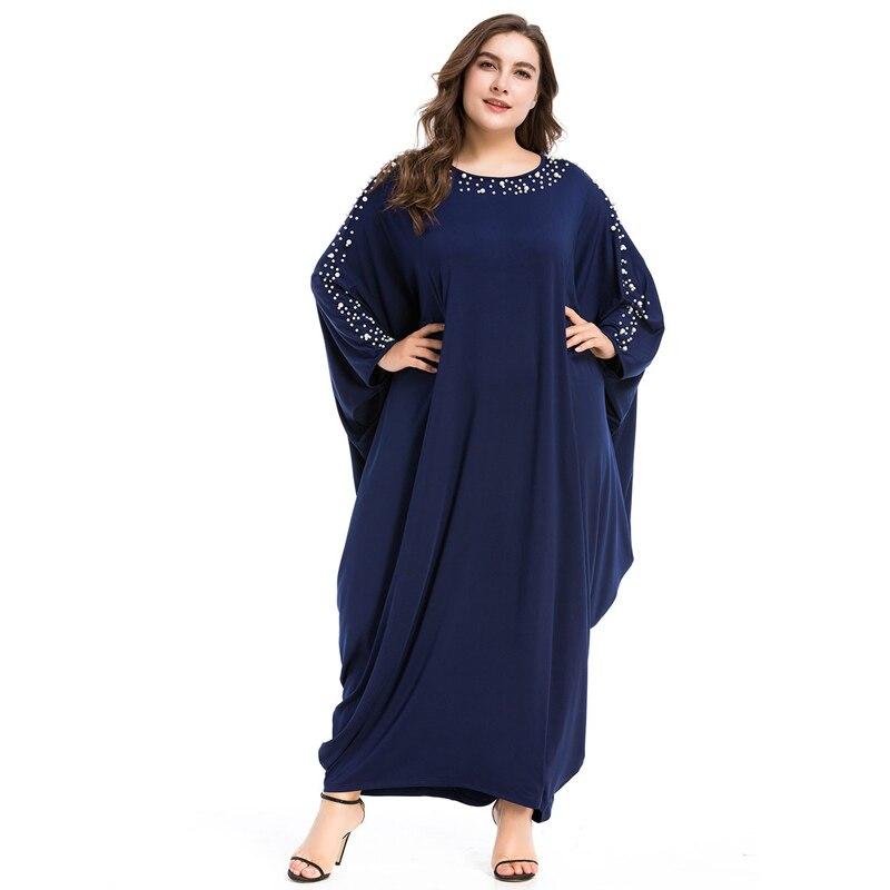 Arabe élégant lâche Abaya caftan mode islamique perles Robe musulmane conception de vêtements femmes manches chauve-souris dubaï Abaya Robe bleu marine - 5