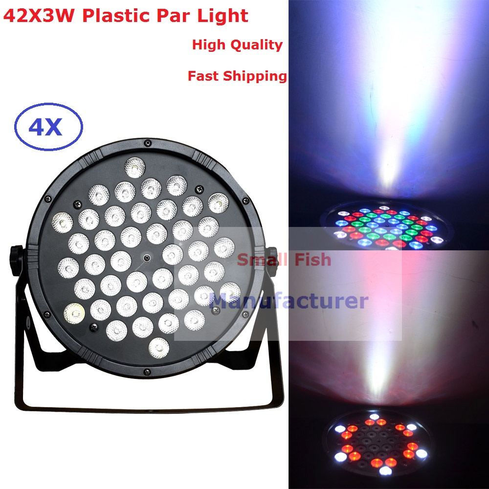 Factory Price 4Pcs/Lot New LED Flat Par Light 42X3W RGBW Single Color Home Party Lights DJ Equipment Stage Effect Beam Lighting 2017 factory price big discount 180w high power led par light 54x3w rgbw single color led flat par lights 90 240v new design