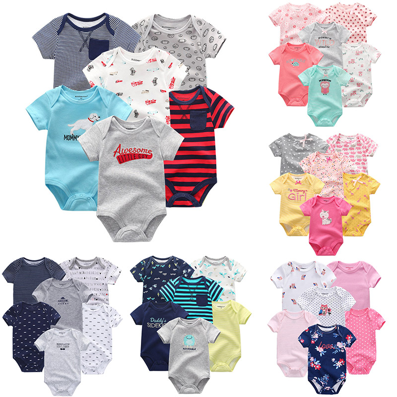 6 PCS/lot newborn unisex summer baby rompers baby boy girl clothes roupas de bebe cotton soft baby junmsuits(China)