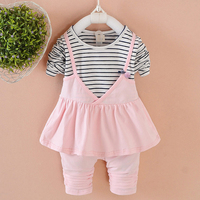 2018 Fashion Spring Striped Boutique Outfits Baby Clothes Girls Sets Cute Long Sleeve Tops Dress Shirt