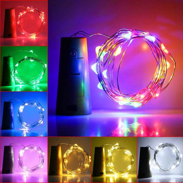 Super Shine Party 8 Colors 2M 20Led Wine Bottle Cork RGB LED Spark Starry String Light Lamp Party Indoor Outdoor Decoration