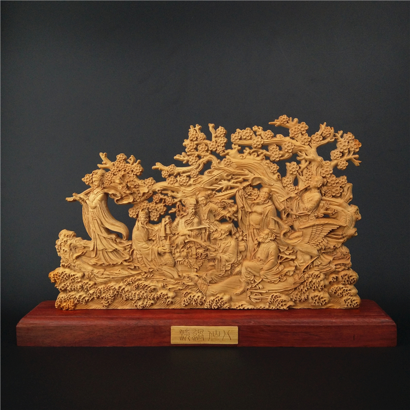 Double sided Wood Sculpture Feng Shui Eight Immortal vintage Chinese Christmas gift special wooden handmade decoration accessory in Statues Sculptures from Home Garden
