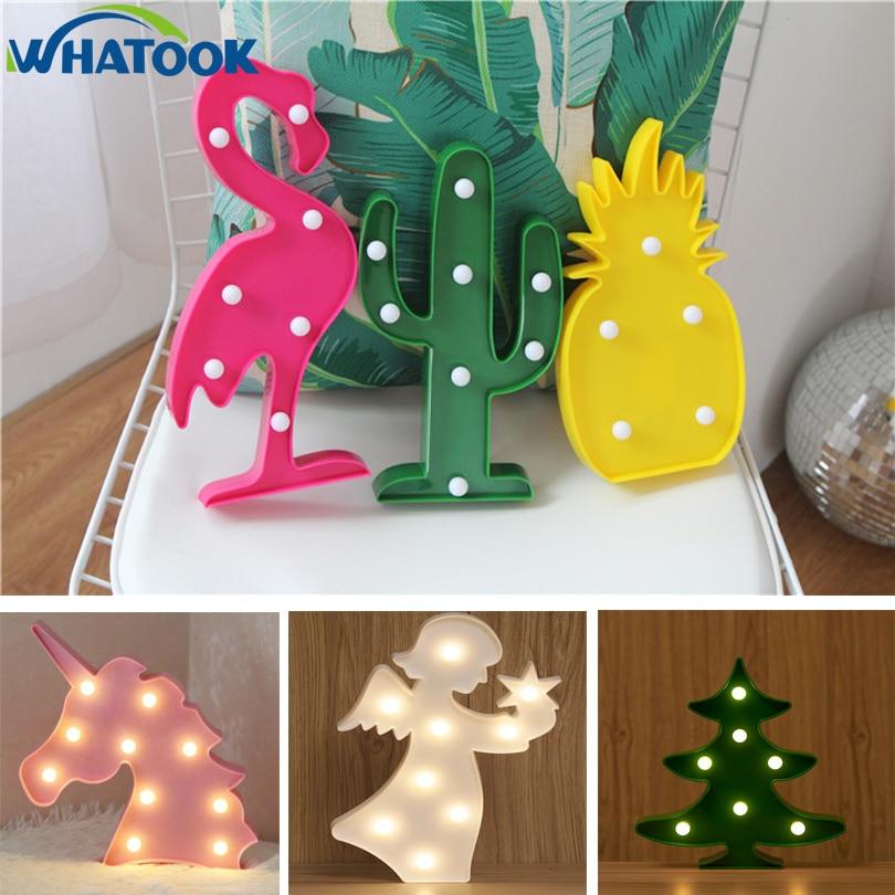 LED Flamingo Cactus Night Light Unicorn Cloud Wall Lamps Novelty Luminaria LED Marquee Letter Light Home Decoretion Lamp Light