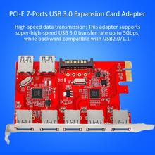 Newest PCI-E 7-Port USB 3.0 Expansion Card Adapter 5 External Ports 2 Internal Compatible With Windows XP/Vista/7/8/10