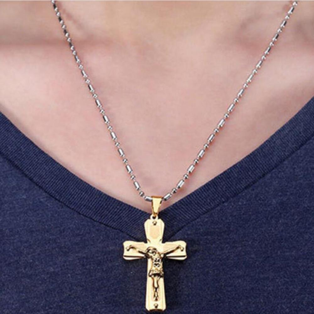 Jesus Christ Crucifix Cross Pendant Necklace Mens Chain 316L ...