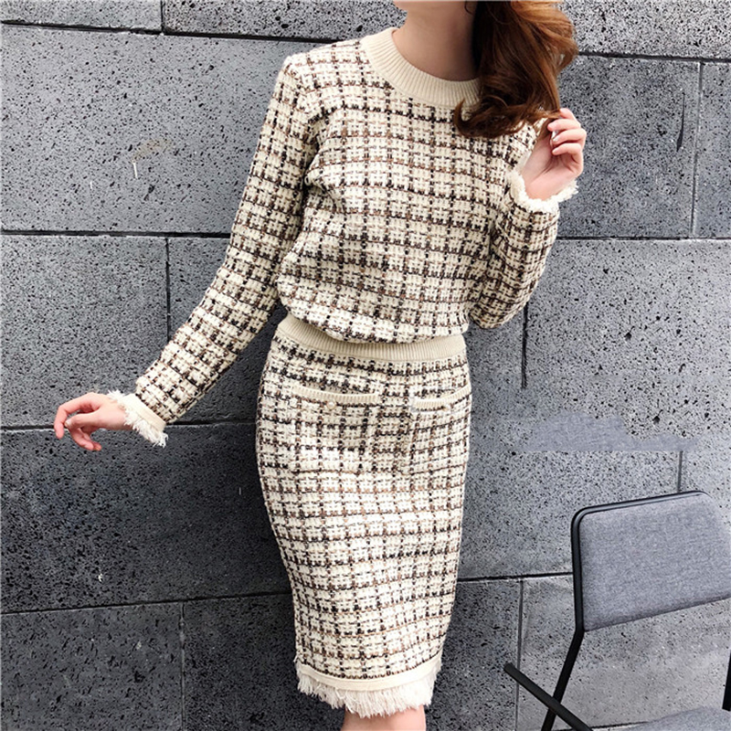 Chic Sweater Suits Women 2019 Hit Color Tweed Plaid Pattern Knit Half High Callor Sweater + High Waist Pencil Skirt 2 Piece Sets