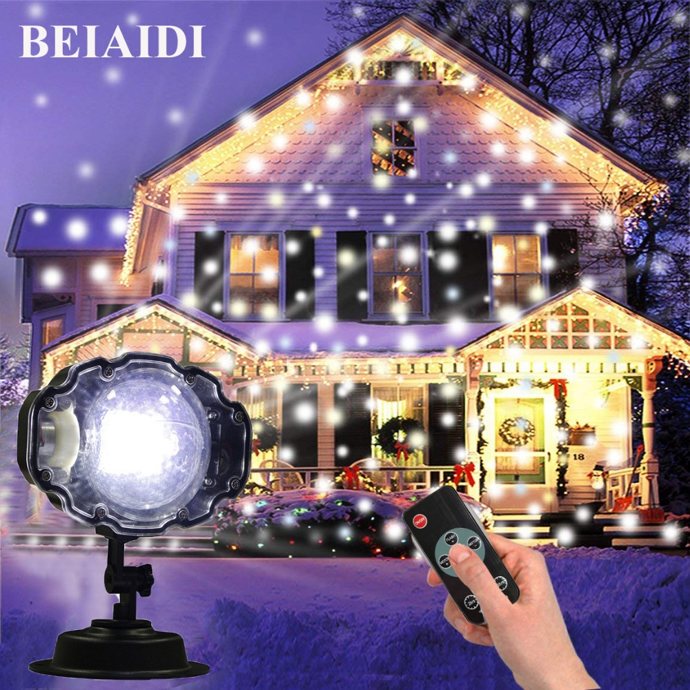 BEIAIDI Outdoor Mini Snowfall Projector Moving Snow Outdoor Garden Laser Projector Christmas Snowflake Laser Lamp For Xmas PartyBEIAIDI Outdoor Mini Snowfall Projector Moving Snow Outdoor Garden Laser Projector Christmas Snowflake Laser Lamp For Xmas Party