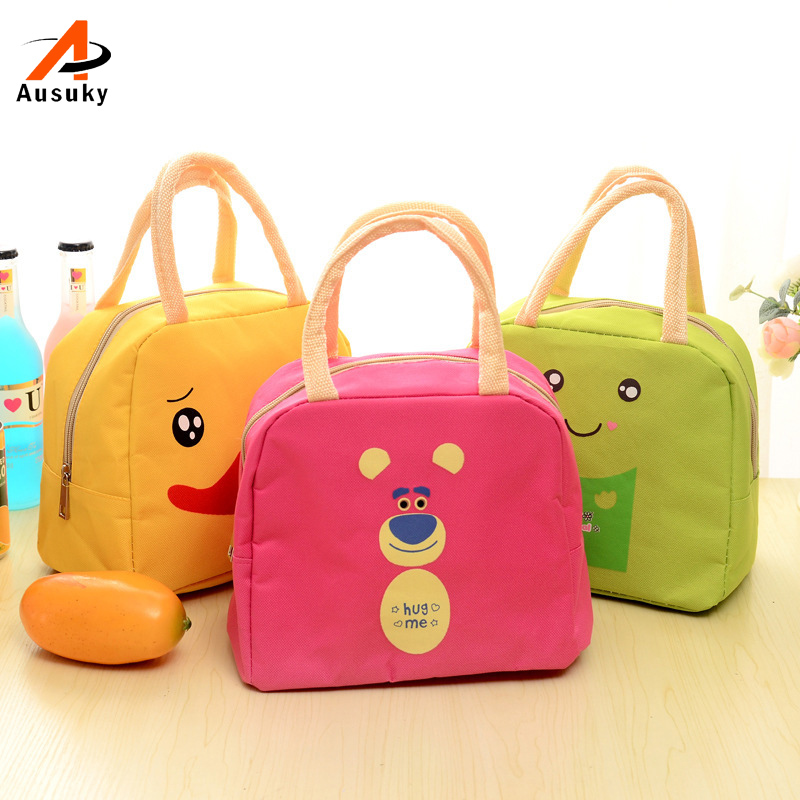 Women Bag Print Child Oxford Thermal Lunch Box Bags Teenage Girls Boys Picnic Insulated Cooler Bag Storage Tote Cartoon Duck